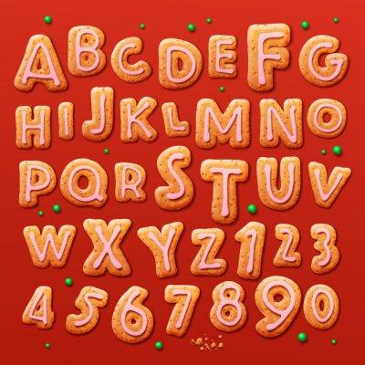 Fototapeta Vánoční perníčky abecedy a čísla