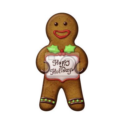 Fototapeta Vánoční perníčky muž cookie izolované ilustrace
