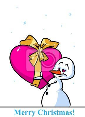 Vanocni Snehulak Znak Valentine Srdce Darek Kresleny Obrazek