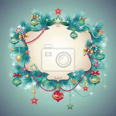 Fototapeta Vánoční vinobraní zdobené pozdrav banner kartuše