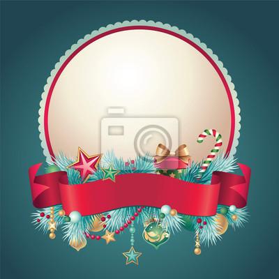 Fototapeta Vánoční vintage pozdrav banner odznak