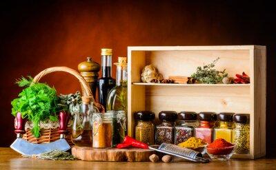 Fototapeta Vaření přísady, koření a bylinek