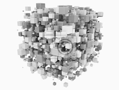 Fototapeta Variace kostek systém koncepční sítě 3d ilustrace izolovaných na bílém pozadí