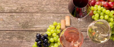 Fototapeta Variety of wine and snack set. Different types of grapes. Fresh ingredients on wooden background.