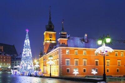 Fototapeta Varšava, Zámecké náměstí v vánočních svátků