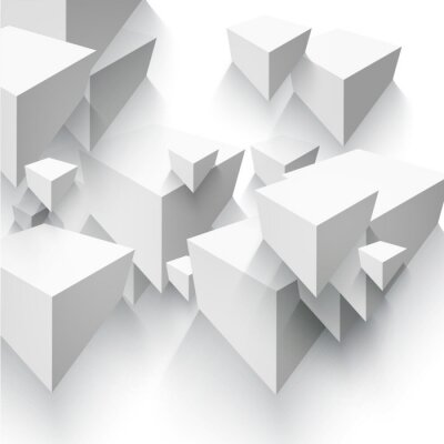 Fototapeta Vector abstraktní geometrický tvar z šedé kostky.