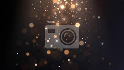 Fototapeta Vector background with golden bokeh, falling golden sparks, dust glitter, blur effect