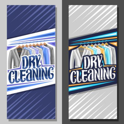 Fototapeta Vector banners for Dry Cleaning, blue leaflet with illustration of modern blazers and colorful shirts hanging on hanger, original brush lettering for words dry cleaning on gray abstract background.