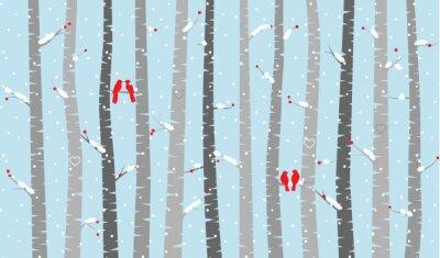 Fototapeta Vector Birch nebo Aspen stromy sněhem a lásku ptáci