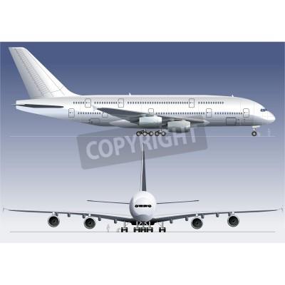Fototapeta Vector double-deck Lagest Jetliner A380