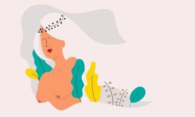 Fototapeta Vector illustration of a beautiful naked woman.