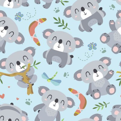 Fototapeta vector kreslený styl koala bezešvé vzor