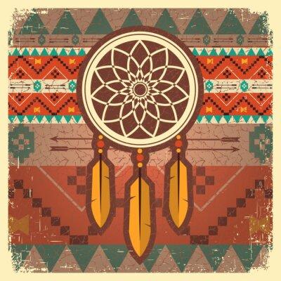 Fototapeta Vector lapač snů plakát s etnickým ornamentem