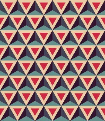 Fototapeta Vector moderní bezešvé barevný vzor geometrie, 3D trojúhelníky, barva červená modrá, abstraktní geometrické pozadí, moderní vícebarevný tisk, retro textura, hipster módní design