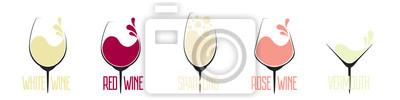 Fototapeta Vector set of different types of wine
