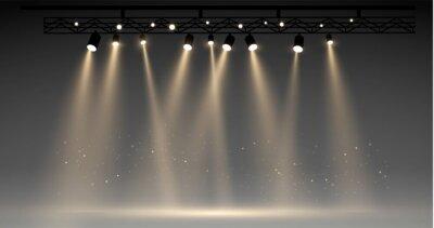 Fototapeta Vector stage with set of yellow spotlights. grey stage lights. realistic epty scene. illustartion
