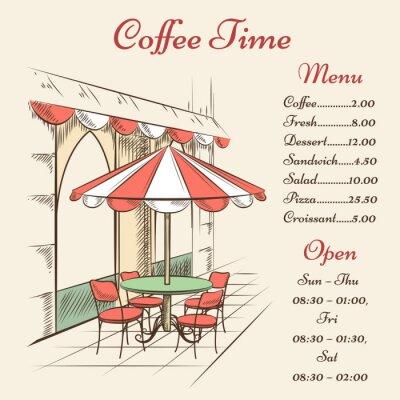 Fototapeta Vector street cafe poster
