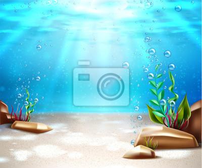 Fototapeta Vector underwater life sea bottom scene background