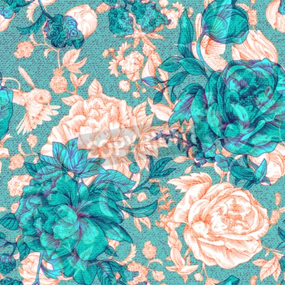 Fototapeta Vector vintage pattern with roses and peonies. Retro floral wallpaper, colorful backdrop