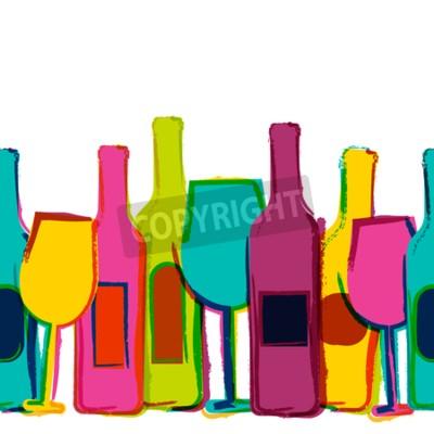 Fototapeta Vektor akvarel bezproblémové pozadí, barevné vinných lahví a sklenic. Koncept pro barového menu, večírek, alkoholických nápojů, svátky, vinný lístek, leták, brožura, plakát, poutač. Kreativní moderní