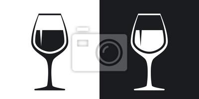 Fototapeta Vektor ikonu sklenice na víno. Dvoubarevné provedení na černém a bílém pozadí