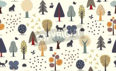 Fototapeta Vektor ilustruje bezproblémový vzor plochých lesních prvků - různé stromy, divoká zvířata a semena.
