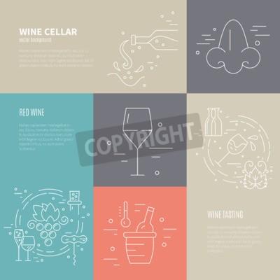 Fototapeta Vektor koncept Vinařství procesu s různými vinařského průmyslu symboly, včetně skla, moštovými, lékovky, corckscrew s ukázkovým textem. Perfektní zázemí pro vína související s designem.