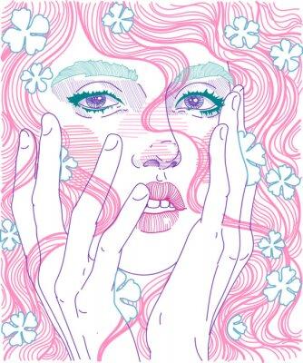 Fototapeta vektor krásná dívka tvář zblízka plná tvář s růžovými vlasy a jemné květiny v účesu, drží ruce na obličej