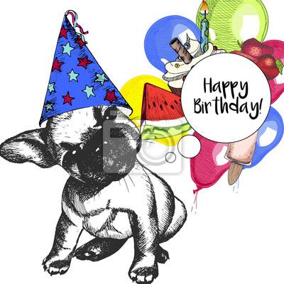přání k narozeninám francouzsky Vektor narozeniny blahopřání. francouzský buldoček štěně v  přání k narozeninám francouzsky