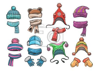 Vektor Rucne Kreslene Zimni Obleceni Pro Deti Woolly Klobouk