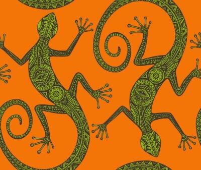 Fototapeta Vektor ručně malovaná bezešvé vzor s monochromatickým ještěrky nebo sal