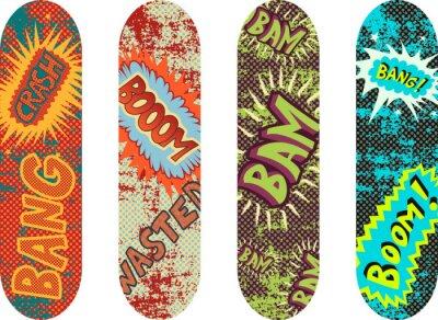 Fototapeta Vektor skateboard provedení balení s účinky kreslený styl