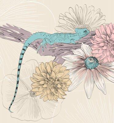 Fototapeta vektor skica ještěrky s roztomilou květin