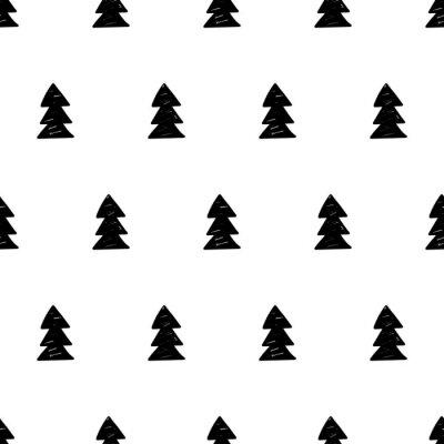 Fototapeta Vektor vánočními vzor s vánočními stromy. Skandinávský styl.