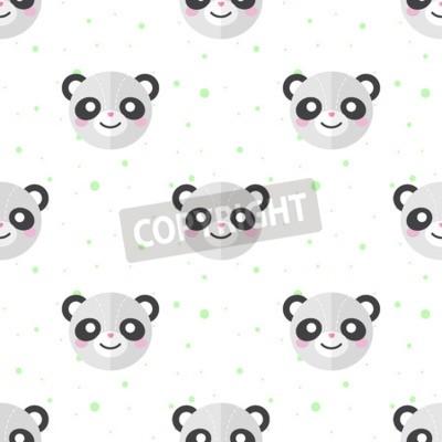 Fototapeta Vektor vtipné karikatury panda plochou hlavy bezešvé vzor. Panda pozadí.