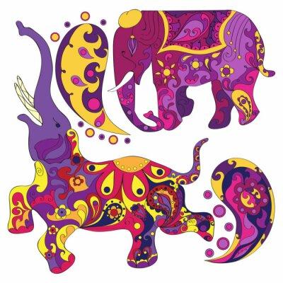 Fototapeta Vektor zdobené slon indický