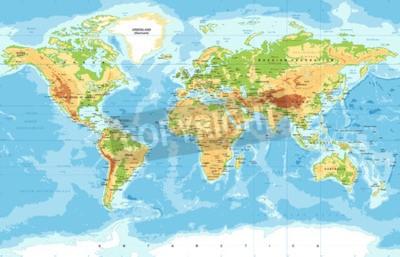 Fototapeta Vektorová fyzická mapa světa
