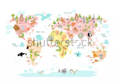 Fototapeta Vektorová mapa světa s kreslenými zvířaty pro děti. Evropa, Asie, Jižní Amerika, Severní Amerika, Austrálie, Afrika. Lev, krokodýl, klokan. koala, velryba, medvěd, slon, žralok, měl, tukan.