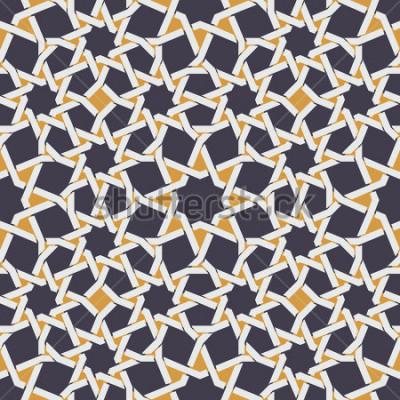 Fototapeta Vektorové bezešvé islámské Star Line v žluté a modré geometrické vzorek abstraktní pozadí