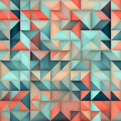 Fototapeta Vektorové bezešvé Modrá Růžová Gradient Triangle Nepravidelné Grid Square Pattern