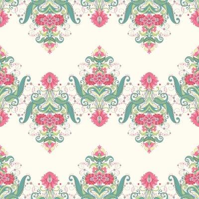 Fototapeta Vektorové bezešvé pozadí. Krásné orientální květinové vzory tvoří hranice. Jemné zelené a růžové.