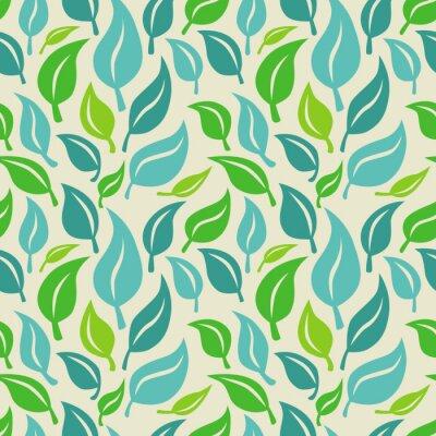 Fototapeta Vektorové bezešvé pozadí se zelenými a modrými listy