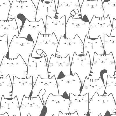 Fototapeta Vektorové bezešvé vzor s roztomilé kočky. Doodle umění. Kočičí bezešvé ručně tažené pozadí