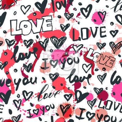 Vektorove Bezesve Vzor S Rucne Kreslene Srdce A Slovo Laska