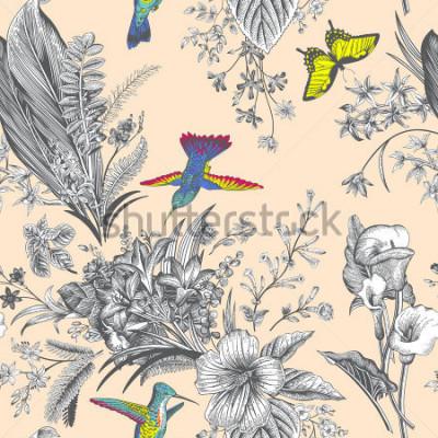 Fototapeta Vektorové bezproblémové ročníku květinového vzoru. Exotické květiny a ptáci. Botanické klasické ilustrace. Barvitý