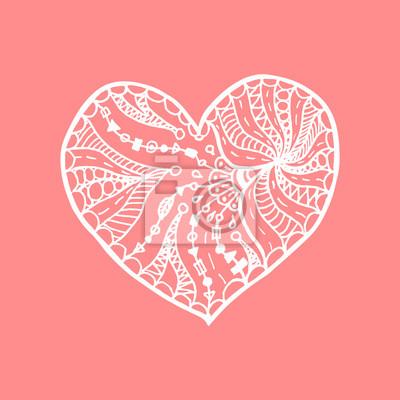 Vektorove Doodle Rucne Kreslene Srdce Bile Srdce Na Ruzovem