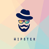 f41b3125629 Vektorové ilustrace brýlemi a knír s vousy izolovaných na vícebarevné pozadí.  hipster logo