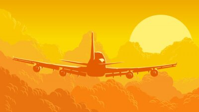 Fototapeta Vektorové ilustrace nebe a mraky se létání letadel.