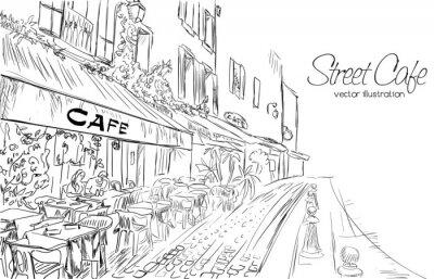 Fototapeta Vektorové ilustrace pouliční kavárně