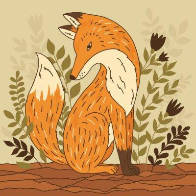 Fototapeta Vektorové ilustrace s liškou